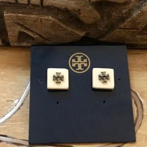 Tory Burch Ivory Stud Logo Flag Square Earrings